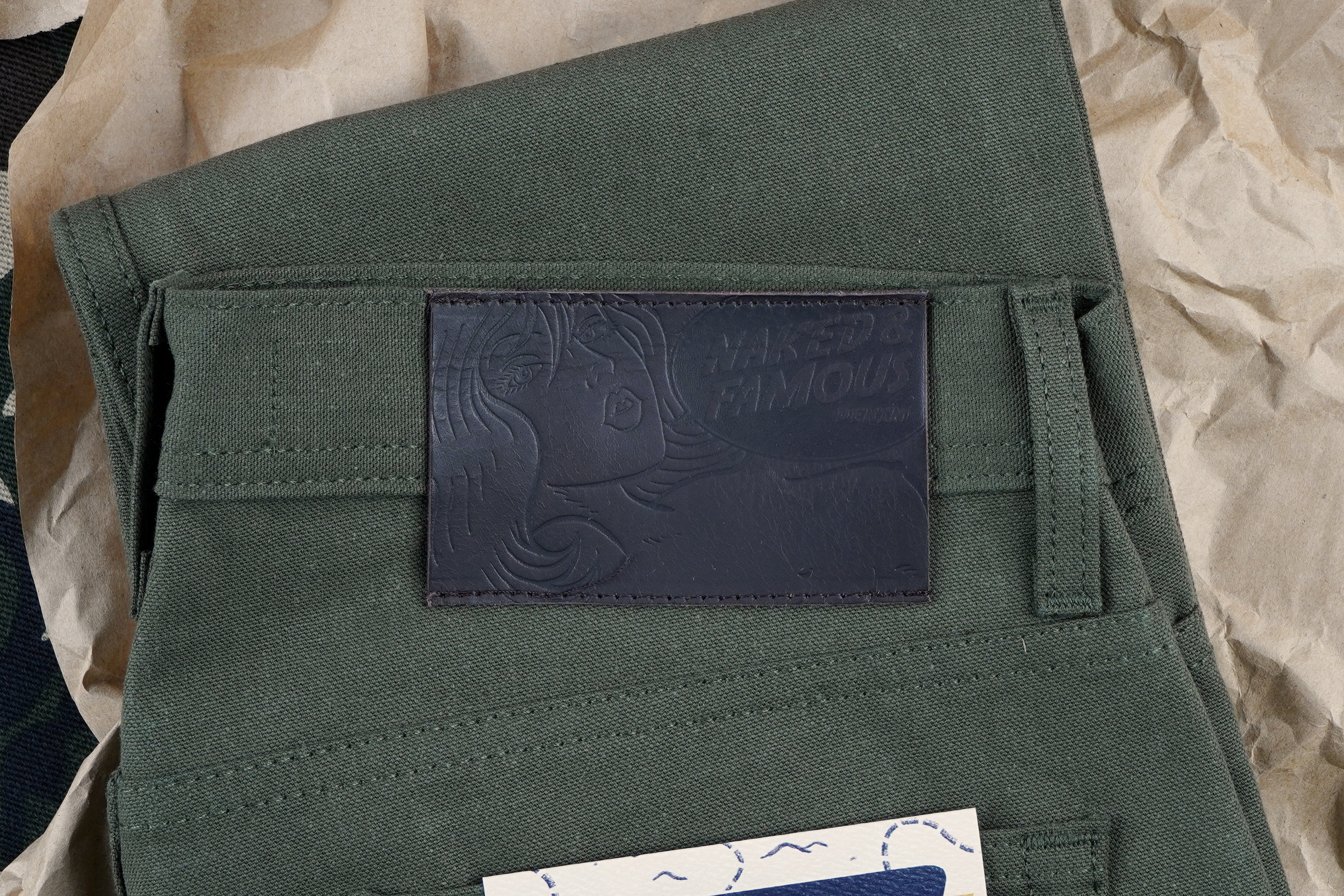 Army Green Duck Canvas Selvedge Leather Patch
