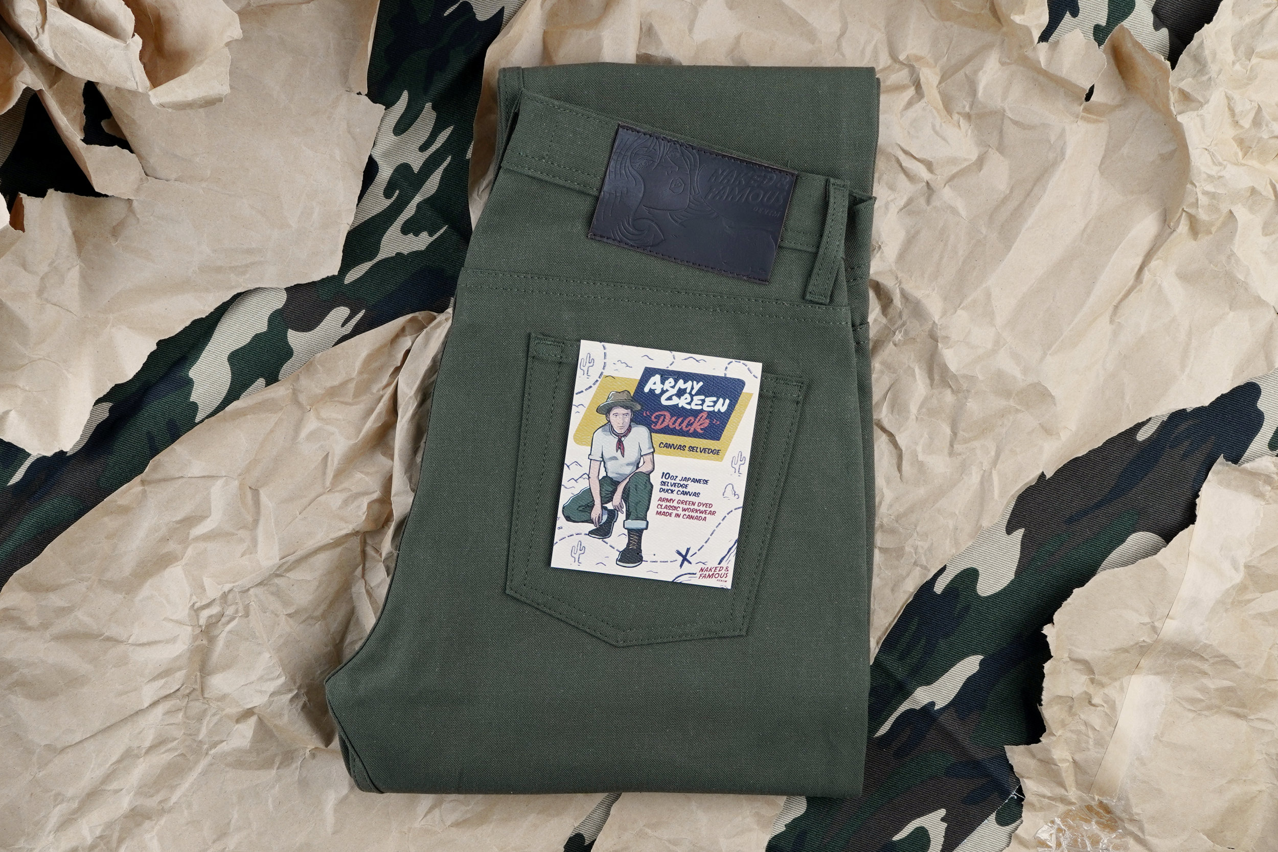Army Green Duck Canvas Selvedge Folded