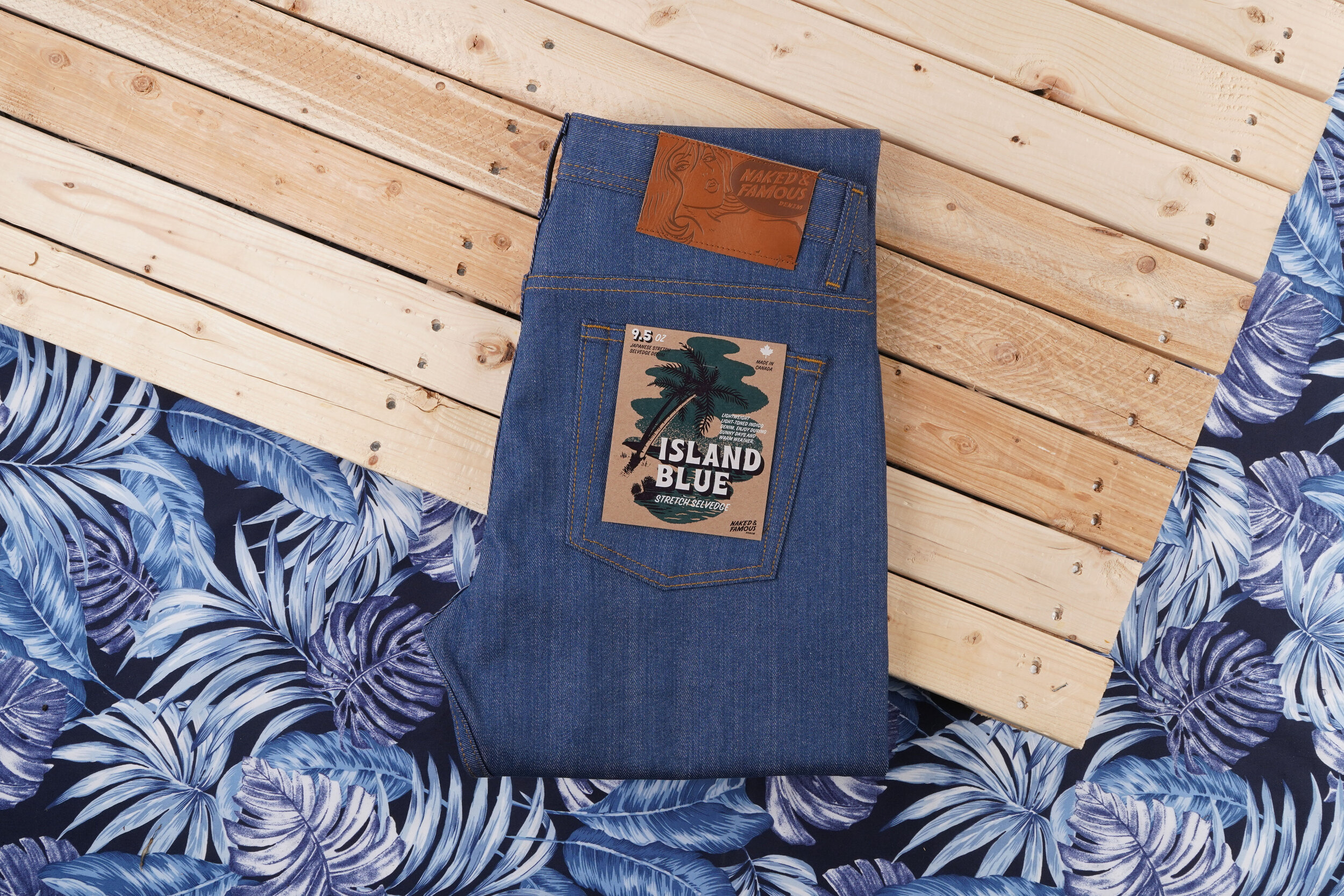 Island Blue Stretch Selvedge - Folded Flat