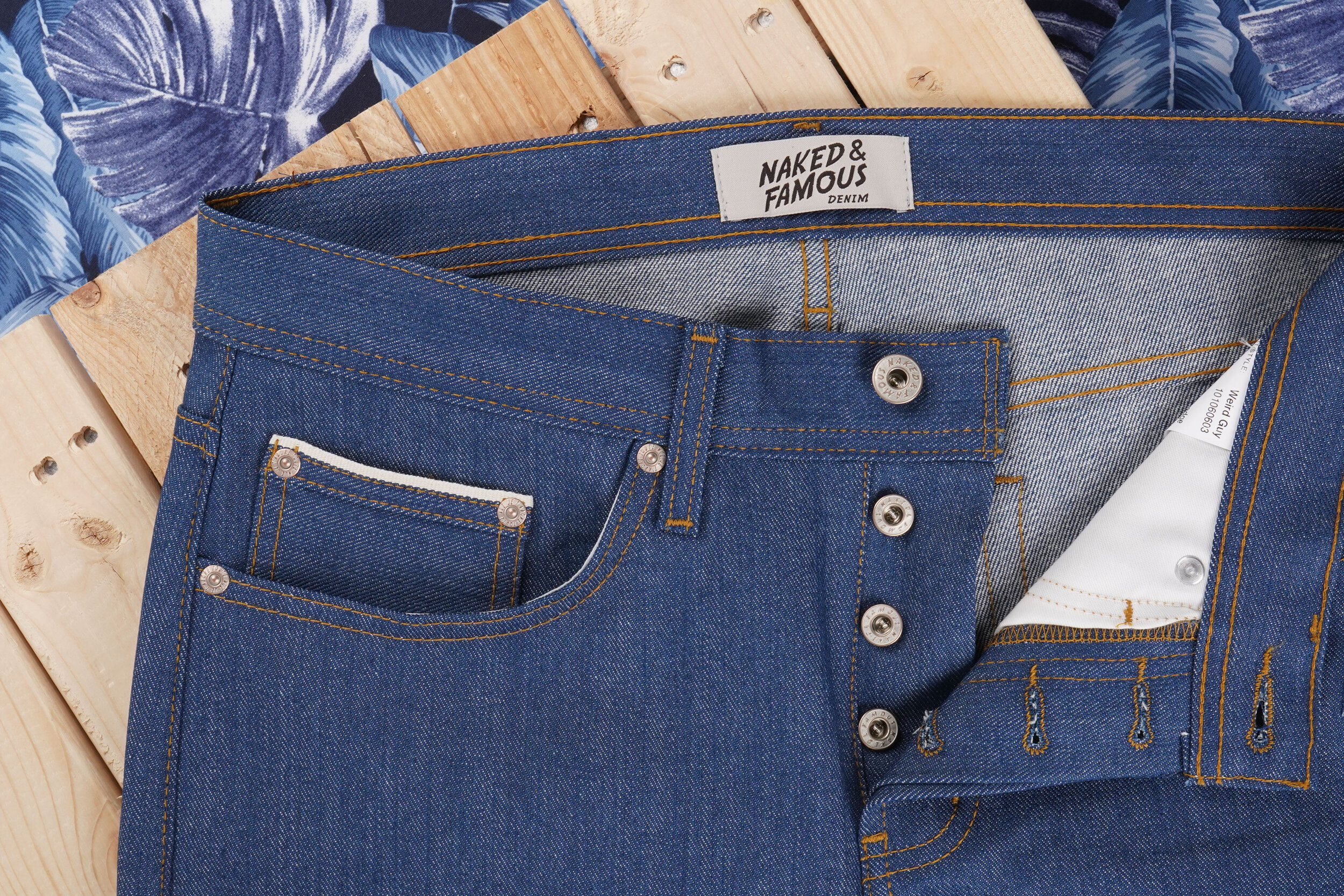 Island Blue Stretch Selvedge - Coin Pocket