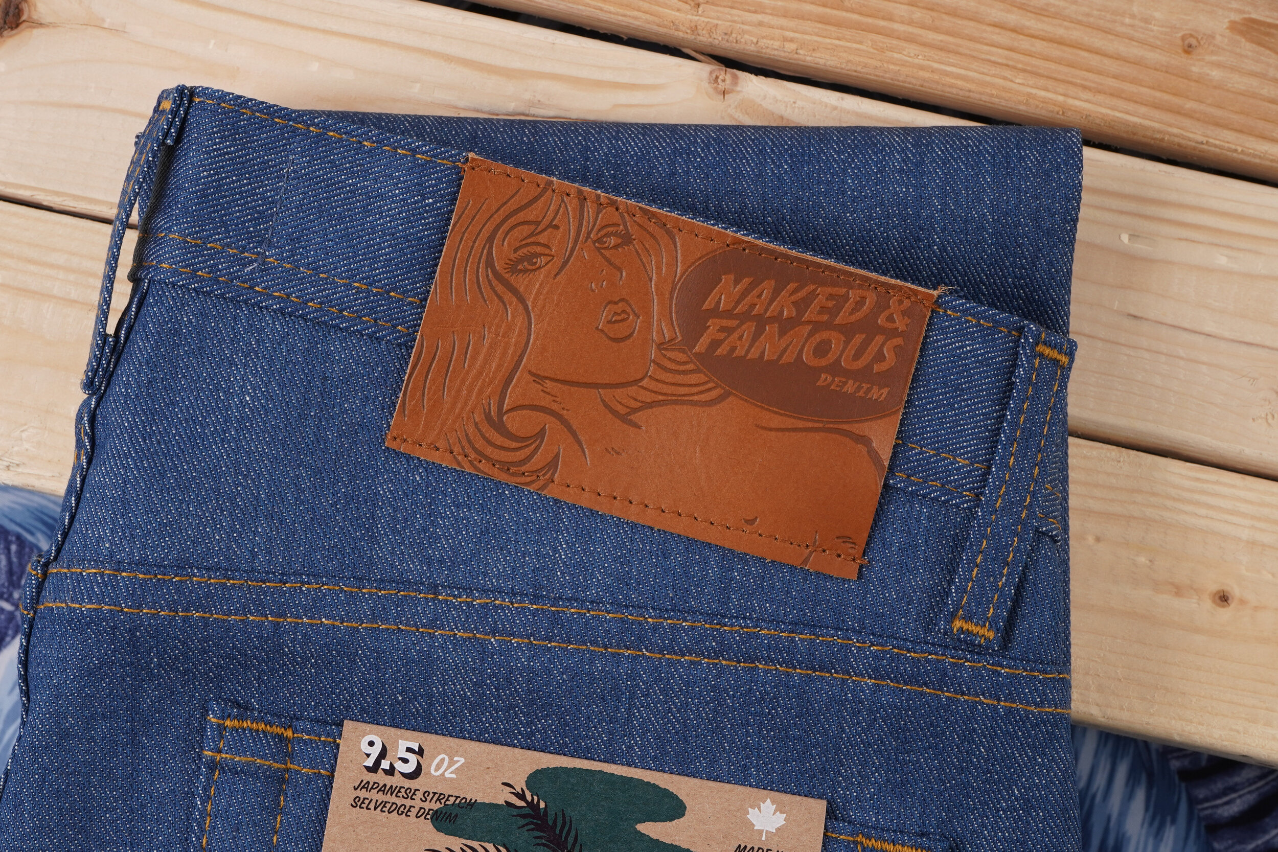 Island Blue Stretch Selvedge - Leather Patch