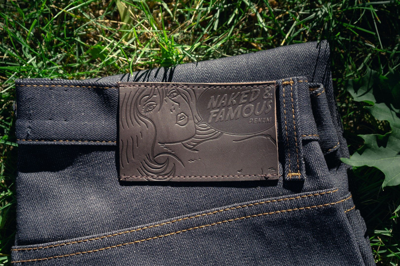 Forever Blue Stretch Selvedge - Leather Patch