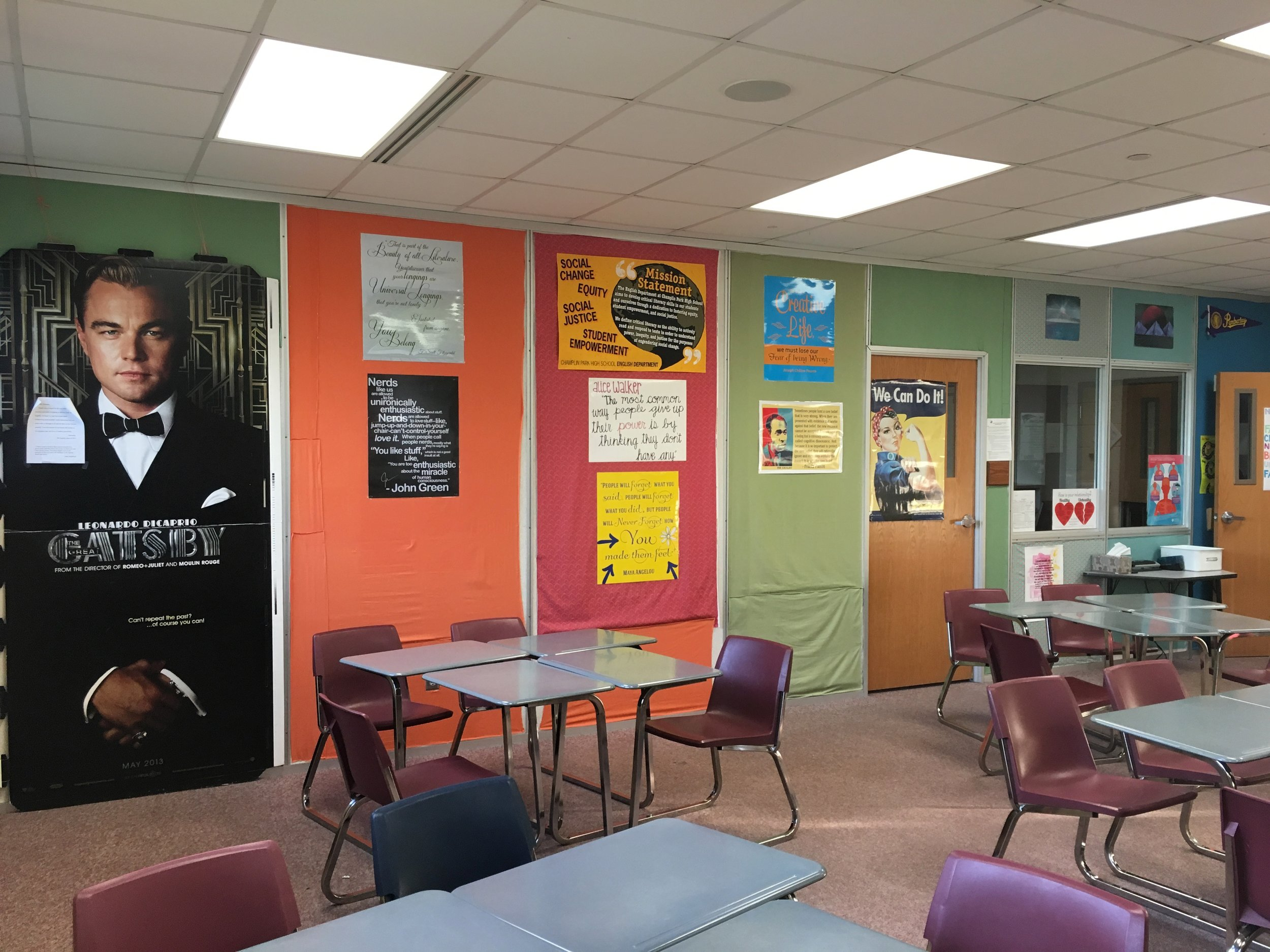 My classroom, with Leo watching over us all…