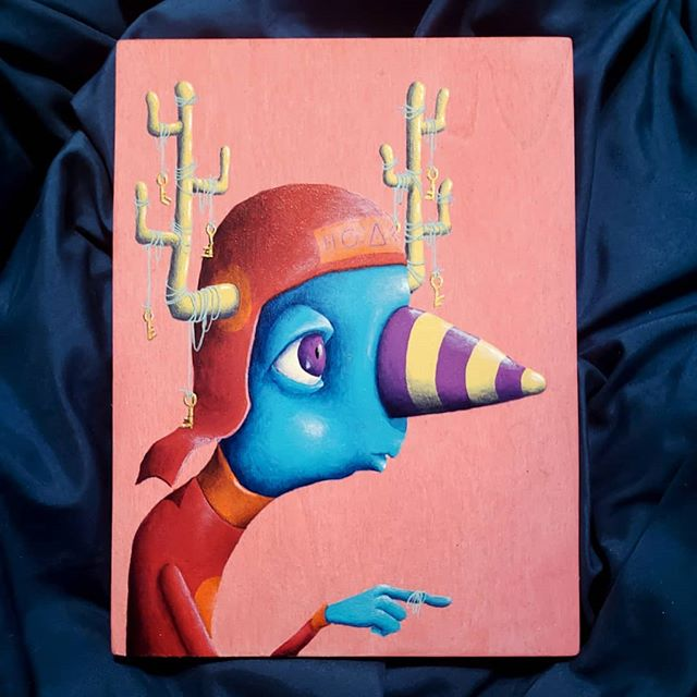 This one will go up at #horseandhero in the next few days.  #asheville #nicholaspecoraro #ashevilleartist #acryliconwood #painting #art #creature #funhat