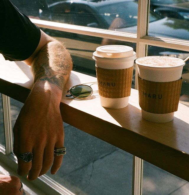 This morning, With him, Having coffee.