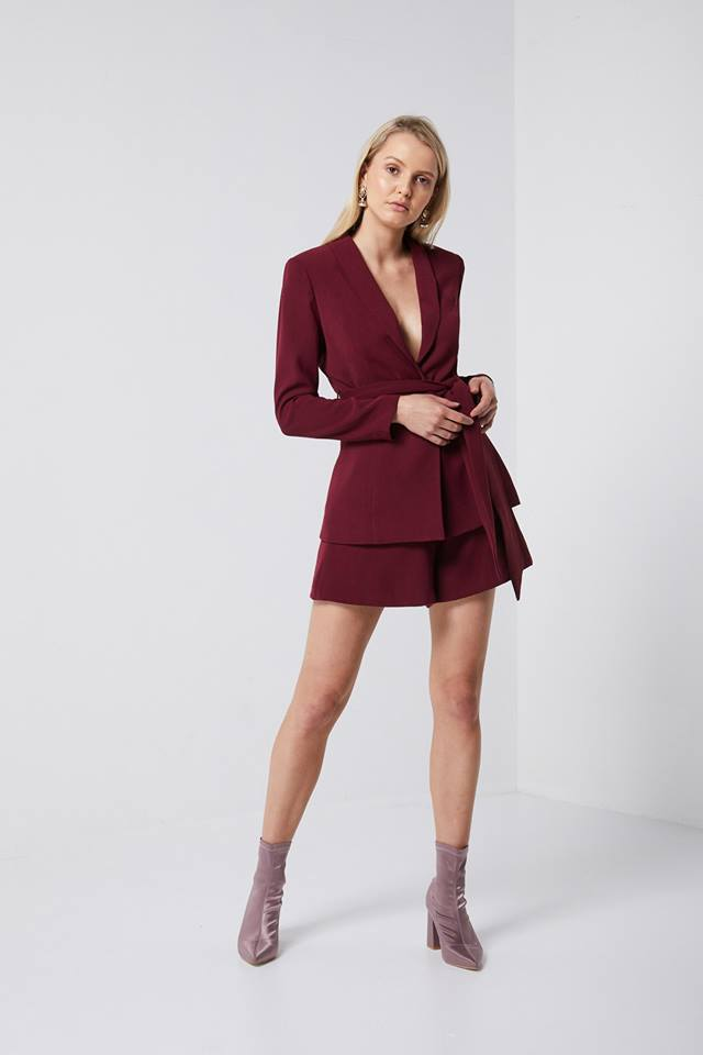 Wine Coloured Blazer Tailored Elliatt Workwear
