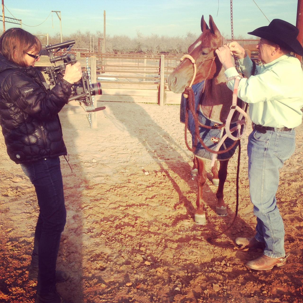 Lori filming Benny Guitron