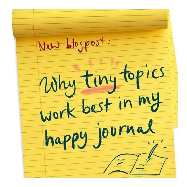 """When I started journaling I went for big topics like """"money"""" , """"success"""" and so on. But I soon found that tiny topics work much better. Link to blogpost in bio.  Am Anfang habe ich mir fürs Glücksjournal die bekannten großen Themen ausgesucht. Geld, Erfolg und so weiter. Im Blog erzähle ich, warum die kleinen Themen viel besser funktionieren.  https://www.happygrowshere.com/blog-deutsch/2019/warum-beim-glcks-journal-die-kleinen-themen-besser-funktionieren  #journaling #bulletjournal #journalinspiration #blogposts #blogpost #bewusstseinsarbeit"""