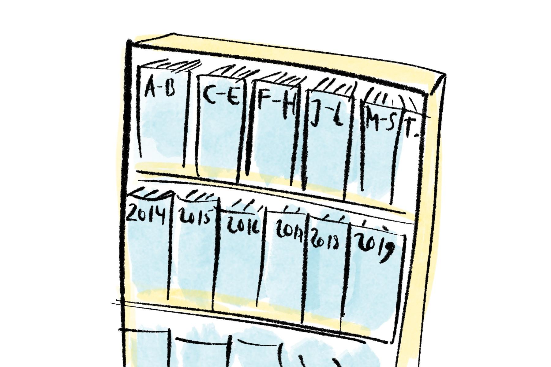 Das semantische Gedächtnis ist wie ein Aktenschrank nach allgemeingültigen Kategorien sortiert.