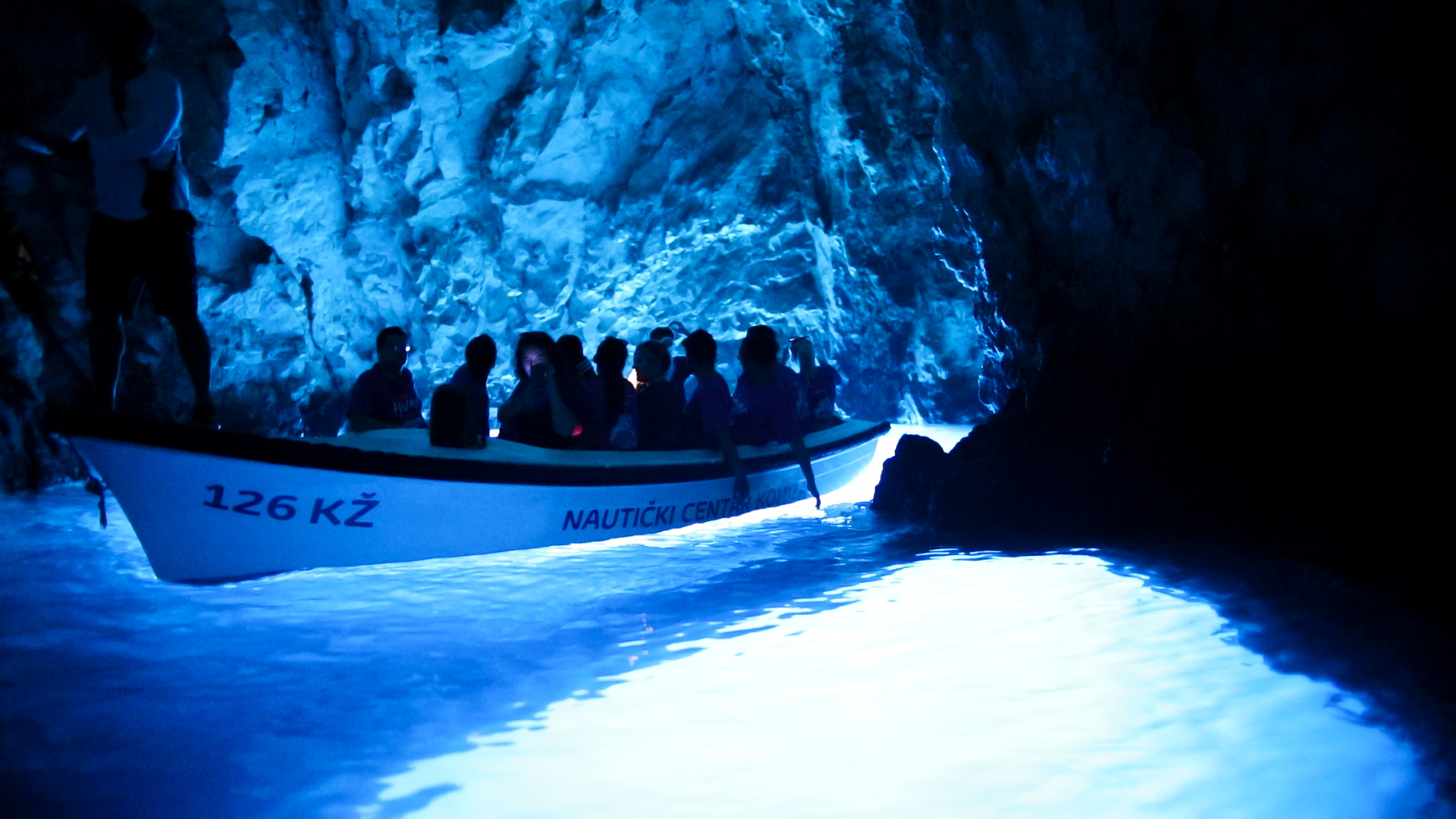 Inside the Blue Cave.
