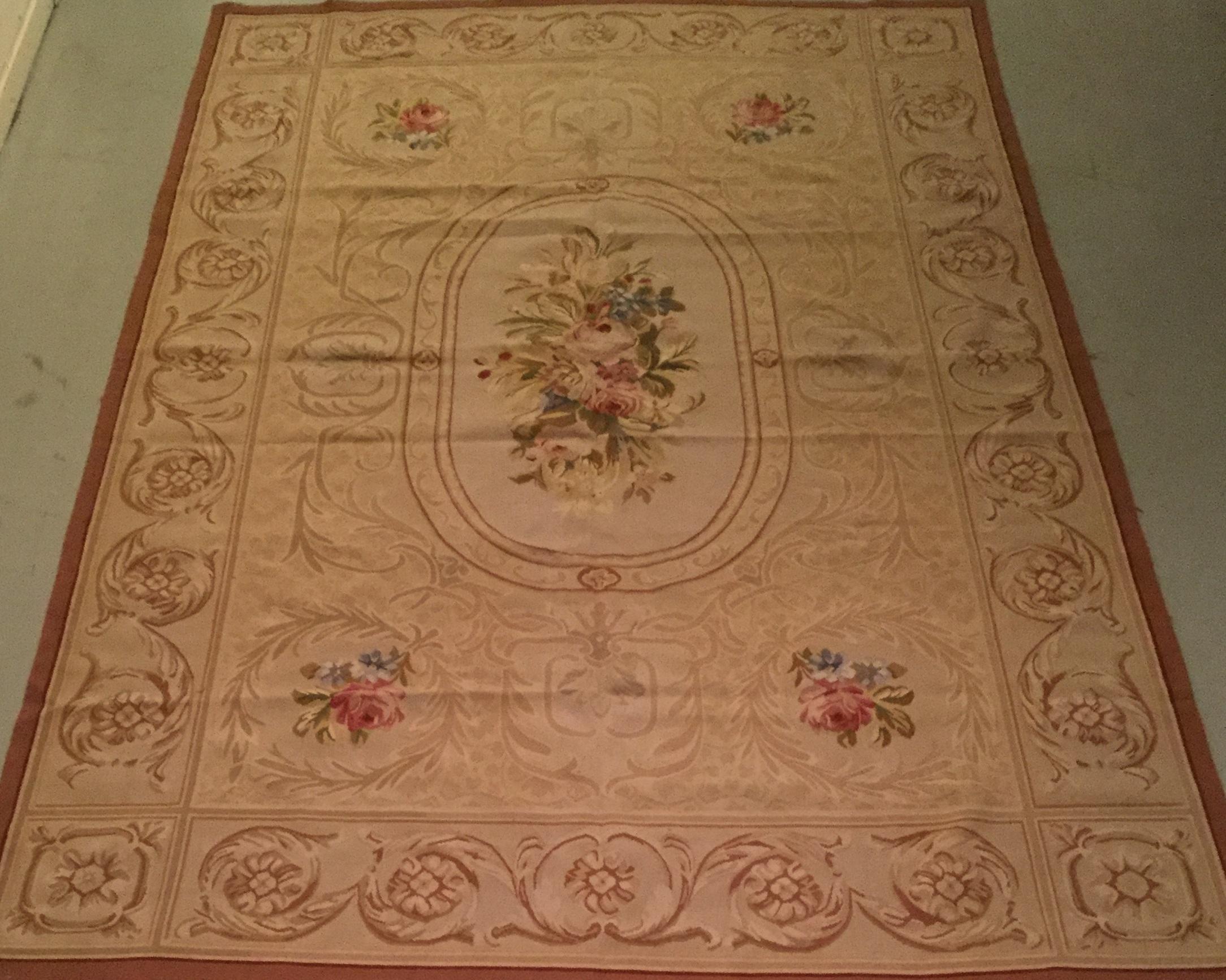Antique Aubusson - Size Measurements: 274cm x 183cmCirca 1900's