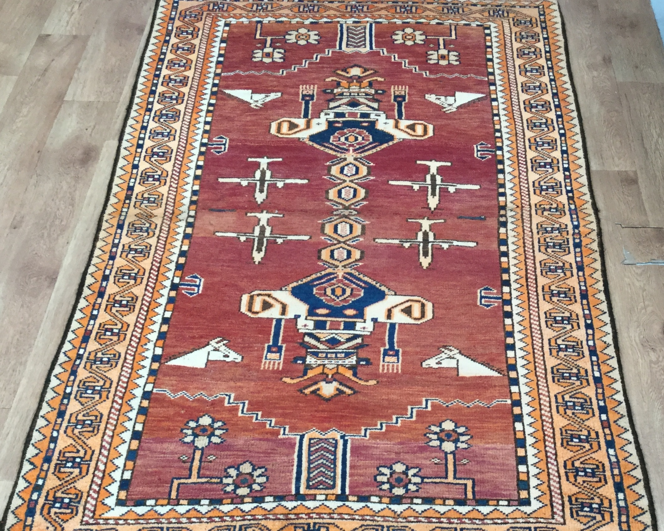 Afghan Kazak    Size Measurements: 190cm x 113cm