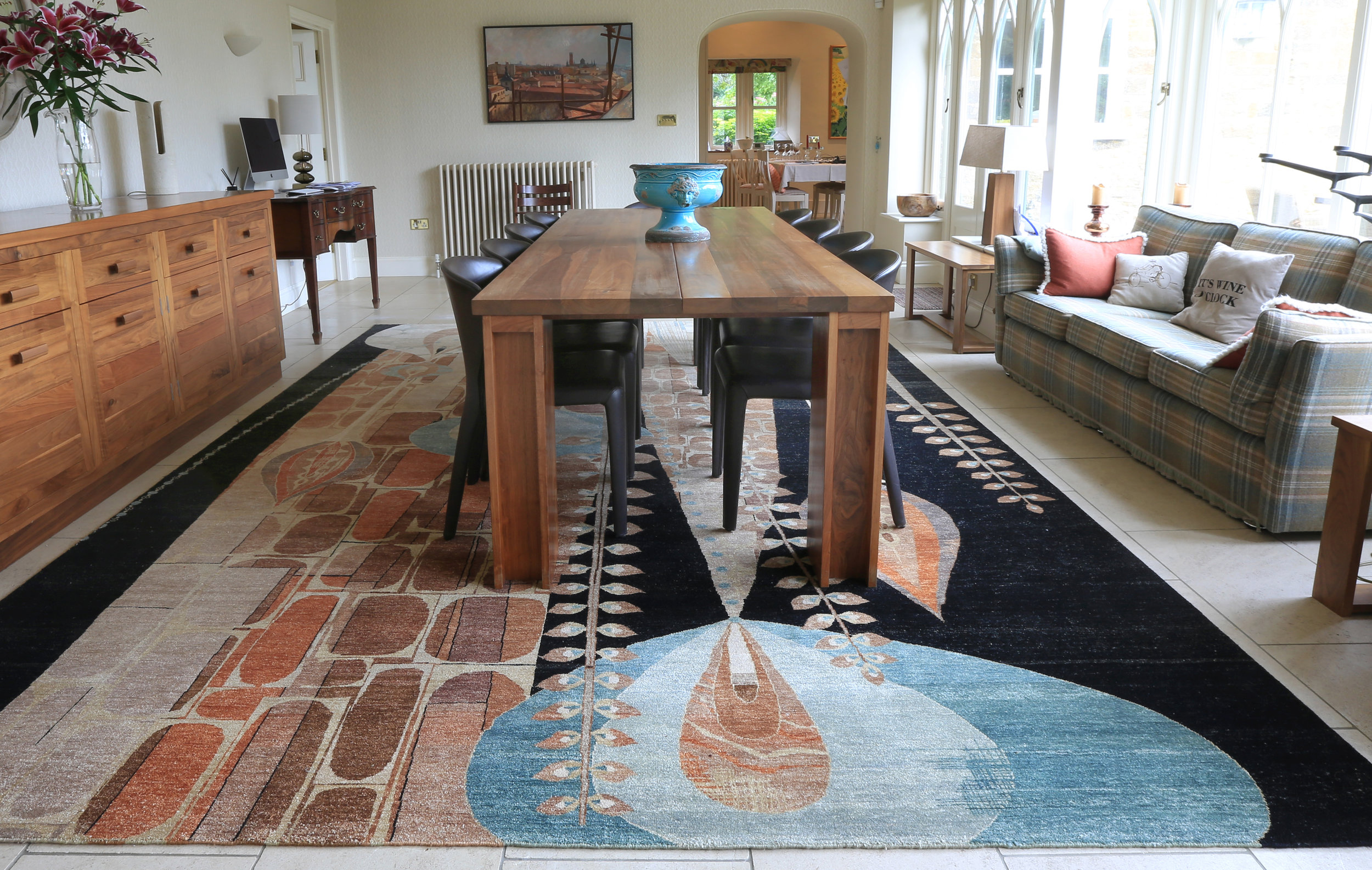 This Rex Ray Lombard rug comes from our Rex Ray collection. The collection originated from the American artist; Rex Ray. He was predominantly a graphic design artist using his retro-futuristic artwork to dictate his own genre of art through his unique designs. After his death in 2015, a tribute to his work was formulated by putting his designs into the form of wool.    Each Rex Ray rug is hand knotted by master weavers in Jaipur, India.
