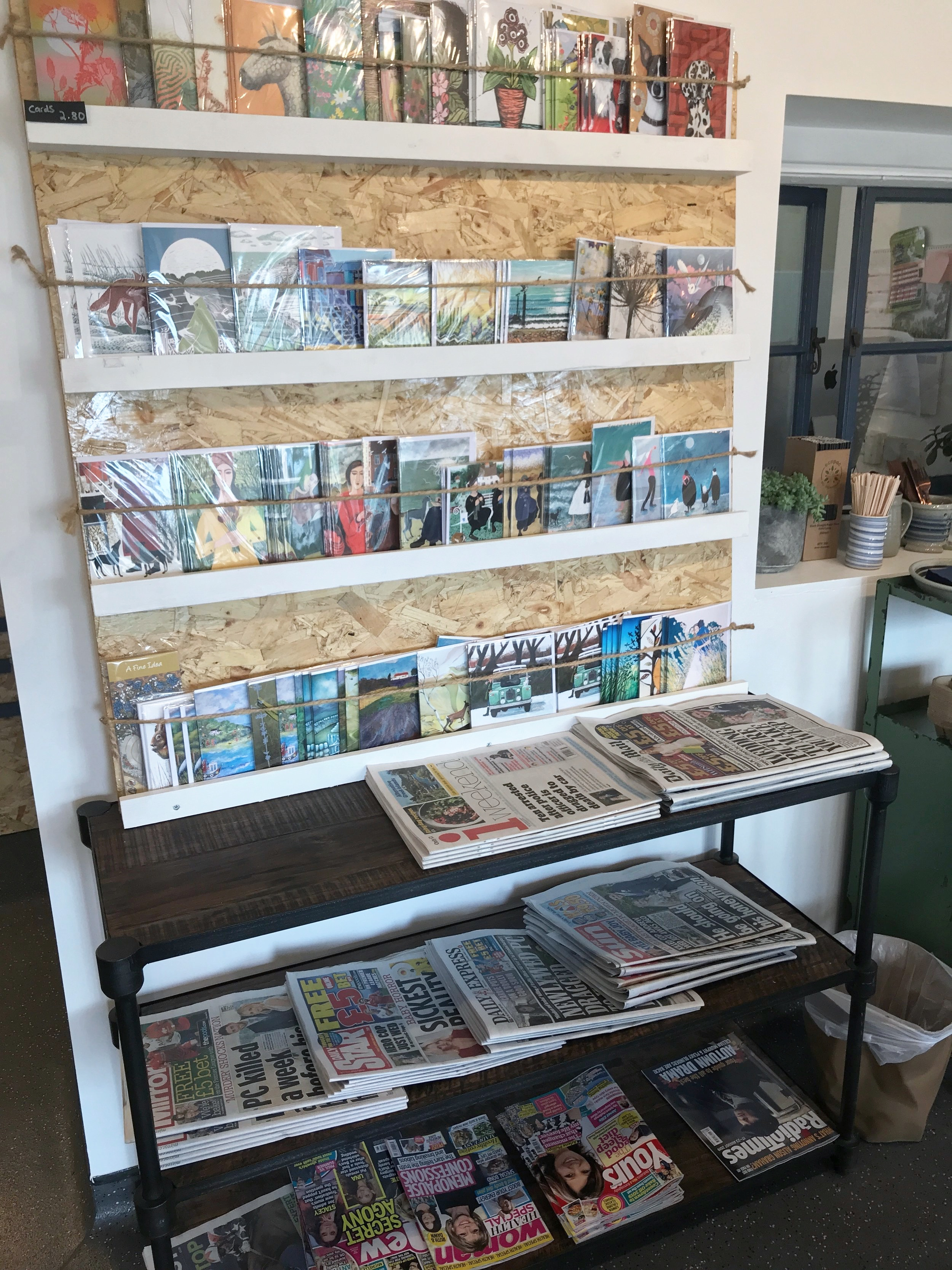 Daily papers and a selection of lovely cards.