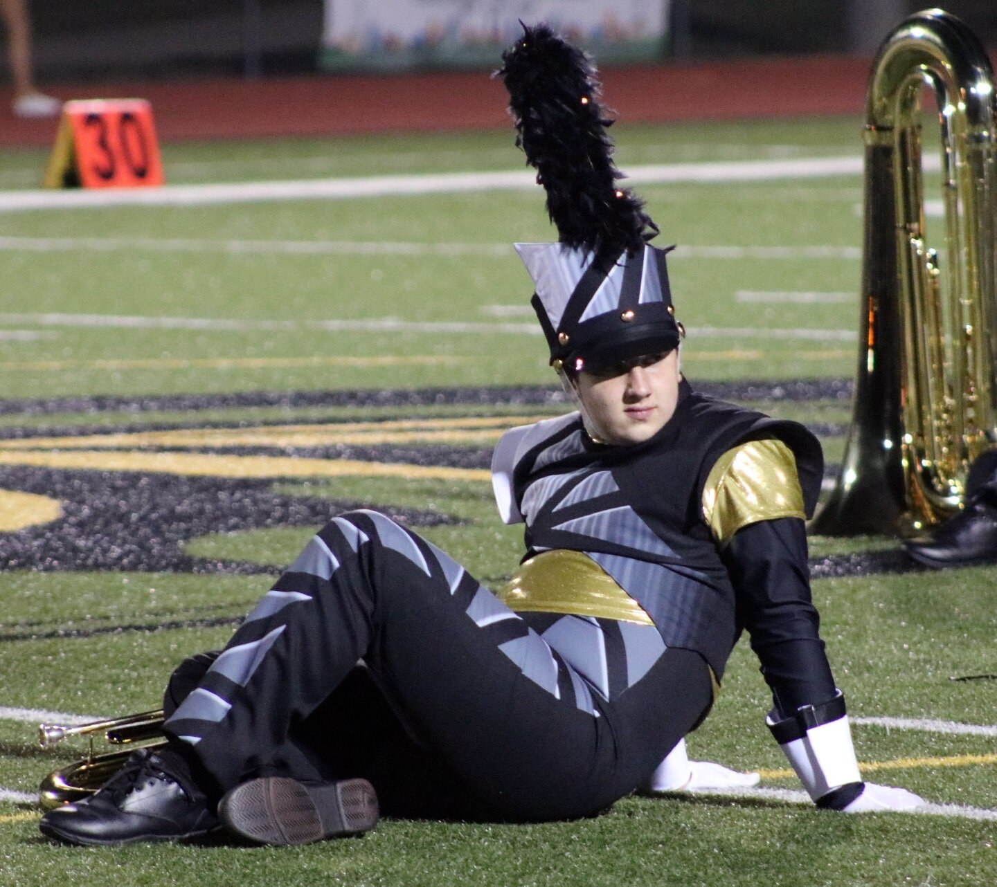 Gabe Sokolowski, Sophomore   Opening pose in 2019 Tiger Pride Marching Band Show