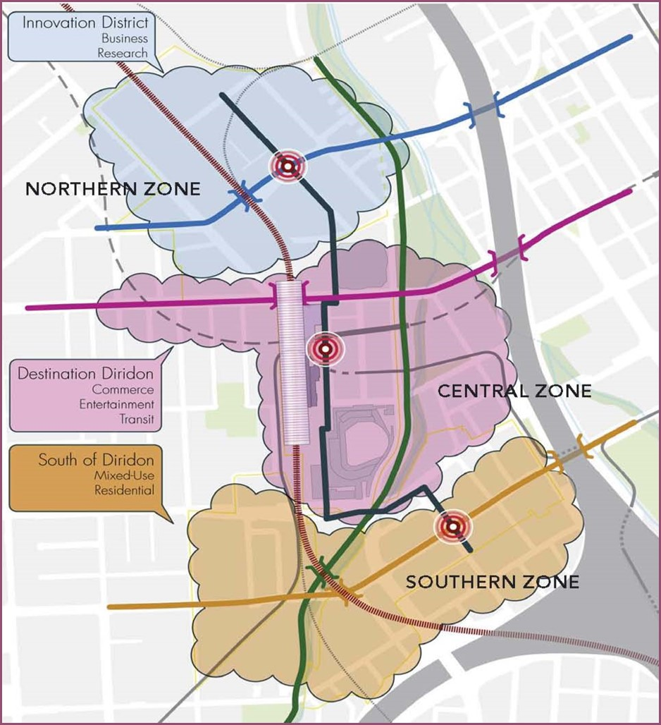 Below is a conceptual image depicting the three zones in the Diridon Station Area Plan.