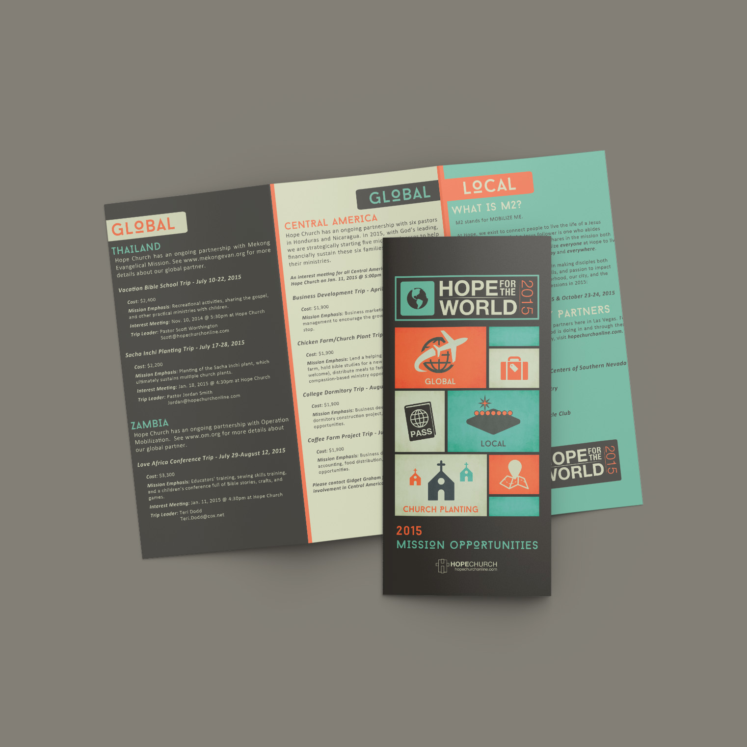 Tri-fold brochure for a missions conference