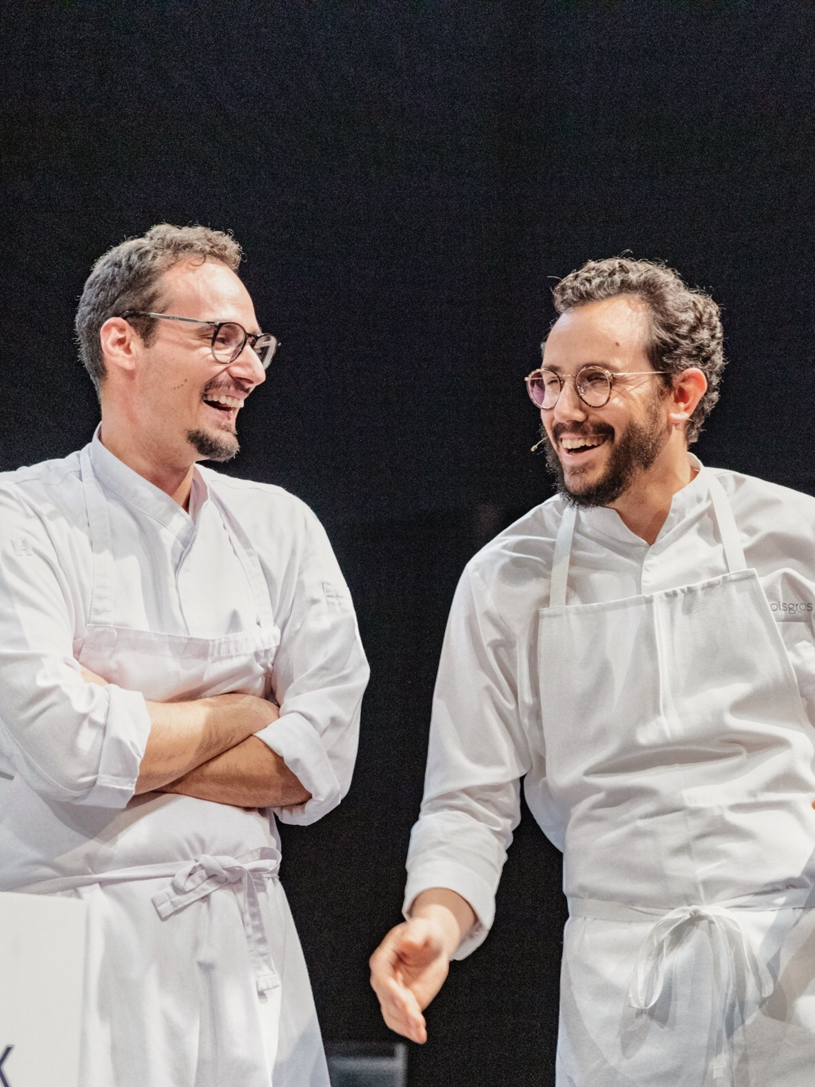 César Troisgros with friend and former colleague Giuseppe D'Errico, on stage of ChefAlps 2019 Image Credit: ChefAlps, Nadine Kägi