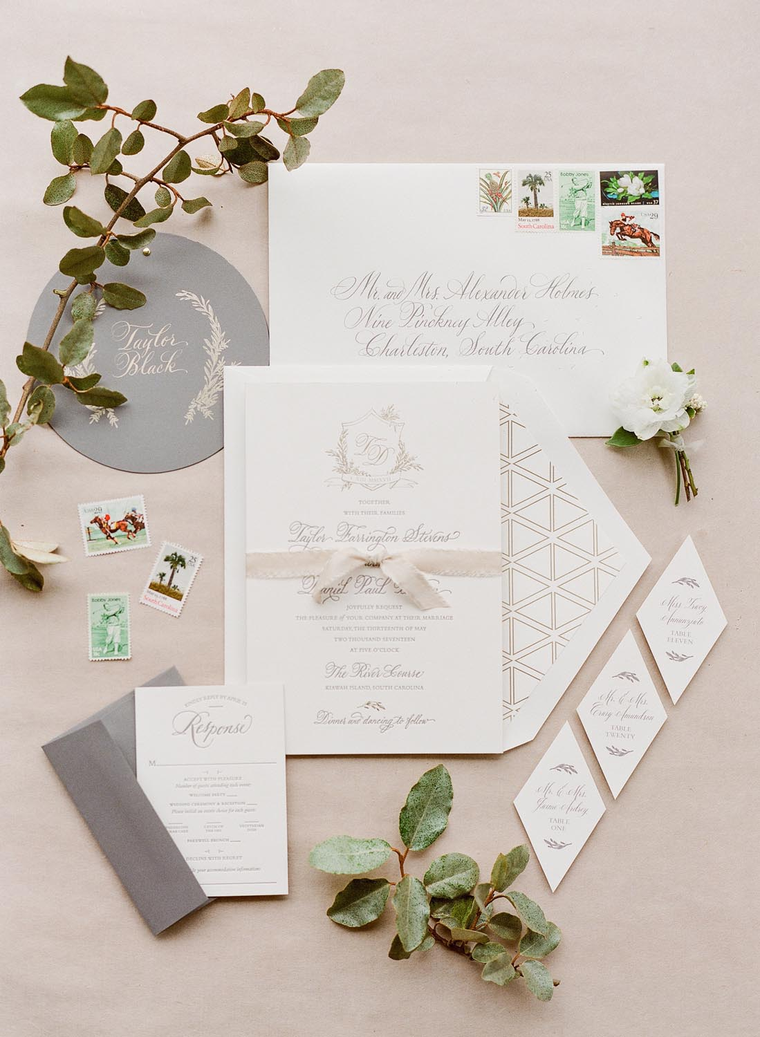 Geometric details and lush florals. Wedding planning and design by A Charleston Bride.