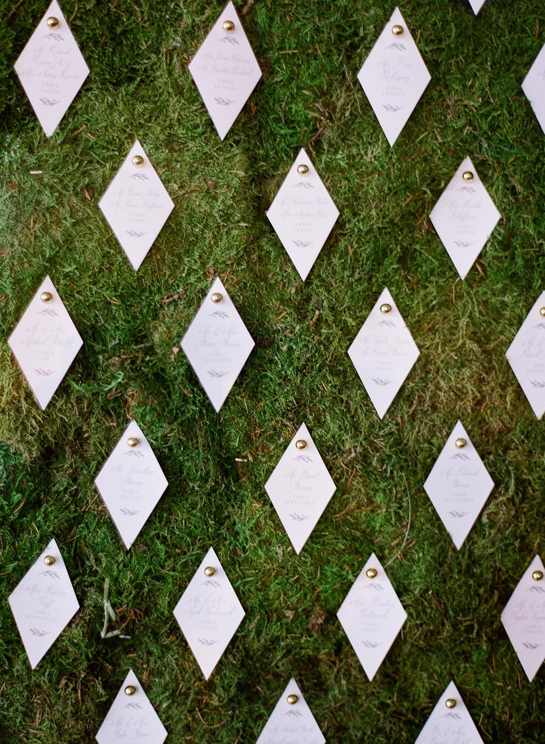 Geometric escort card display on moss wall. Wedding planning and design by A Charleston Bride.