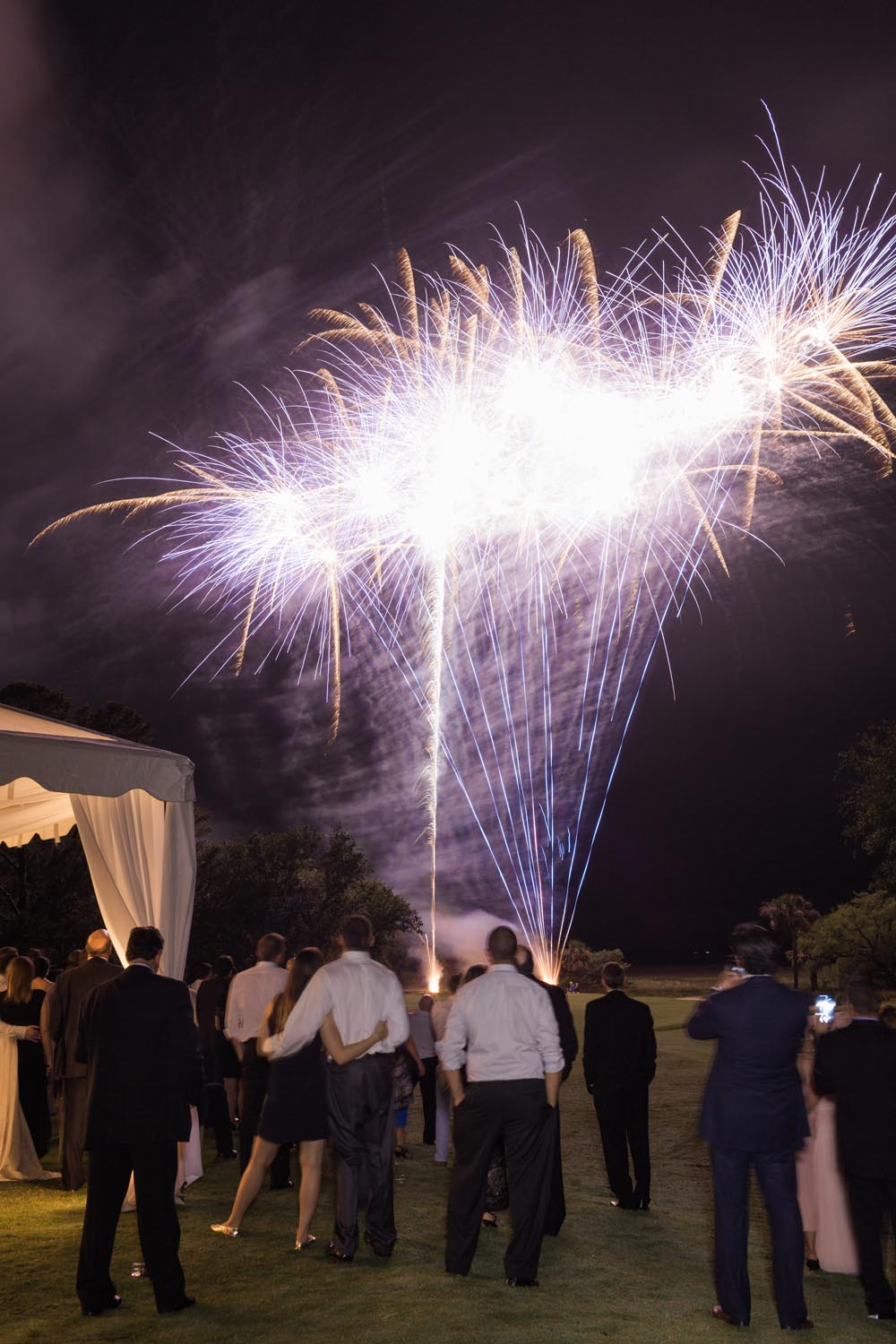 The real showstopper was the night's end which was concluded with a grand firework display that left everyone seeing stars! Wedding planning and design by A Charleston Bride.