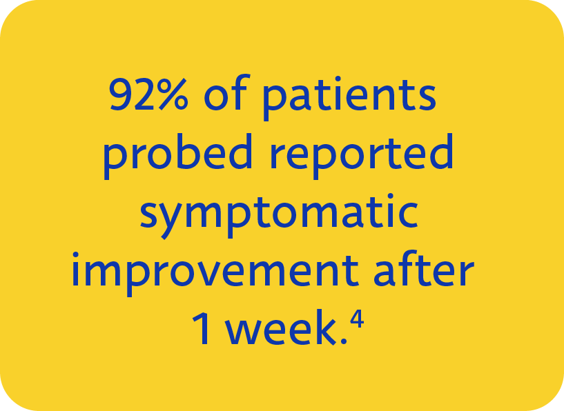 92% of patients probed using Maskin Probing Protocol for Meibomian Gland Dysfunction reported symptomatic improvement on their dry eye after 1 week.