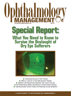 Opthamology Management, Special Report: What You Need to Know to Survive the Onslaught of Dry Eye Sufferers. Features an article by Dr. Maskin about how to accurately identify and diagnose dry eye and Meibomian Gland Dysfunction patients along with treatment pathways suggestions.