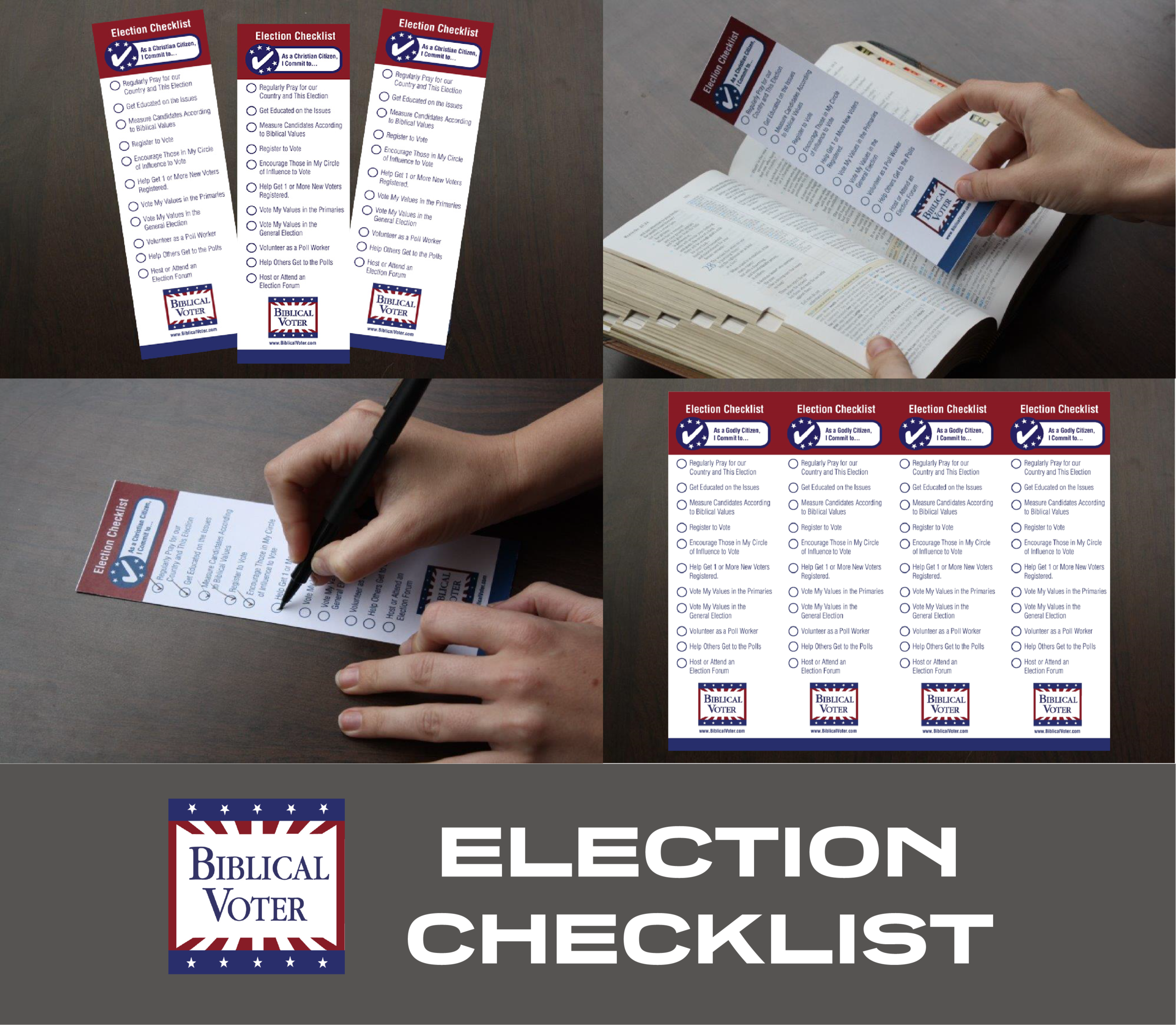 Election Checklist Bookmark - The Election Checklist Bookmark features the Top 11 To-Dos for Every Election. Simple effective list of actions to share with family & friends