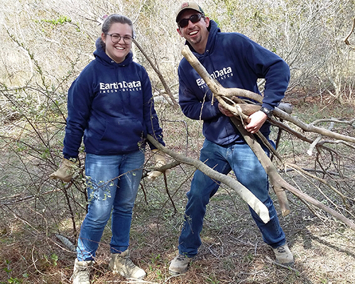 Trailblazers - Devan Smith-Brown and Jeff Chipman volunteered to clear trails at the Chesapeake Environmental Center in Grasonville, Maryland.