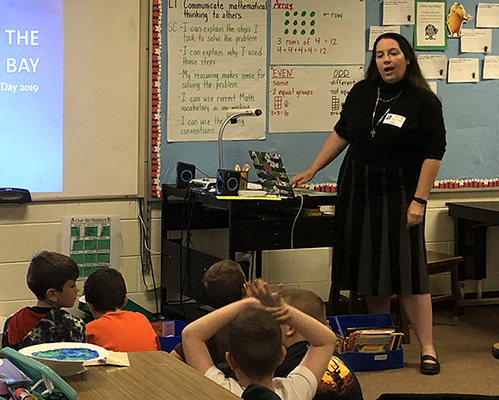 Back to School - Earth Data Hydrogeologist Mary Wakefield spoke to a group of second-grade students on Earth Day. Though she has a wealth of knowledge about the Chesapeake Bay habitat, she learned even more when she saw it through their eyes.