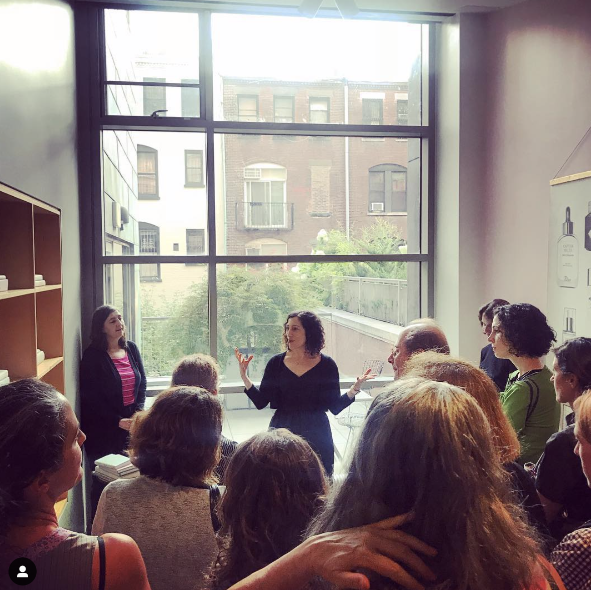 Karen speaking during her 2018 Artist Residency at Bard Graduate Center Library in New York.