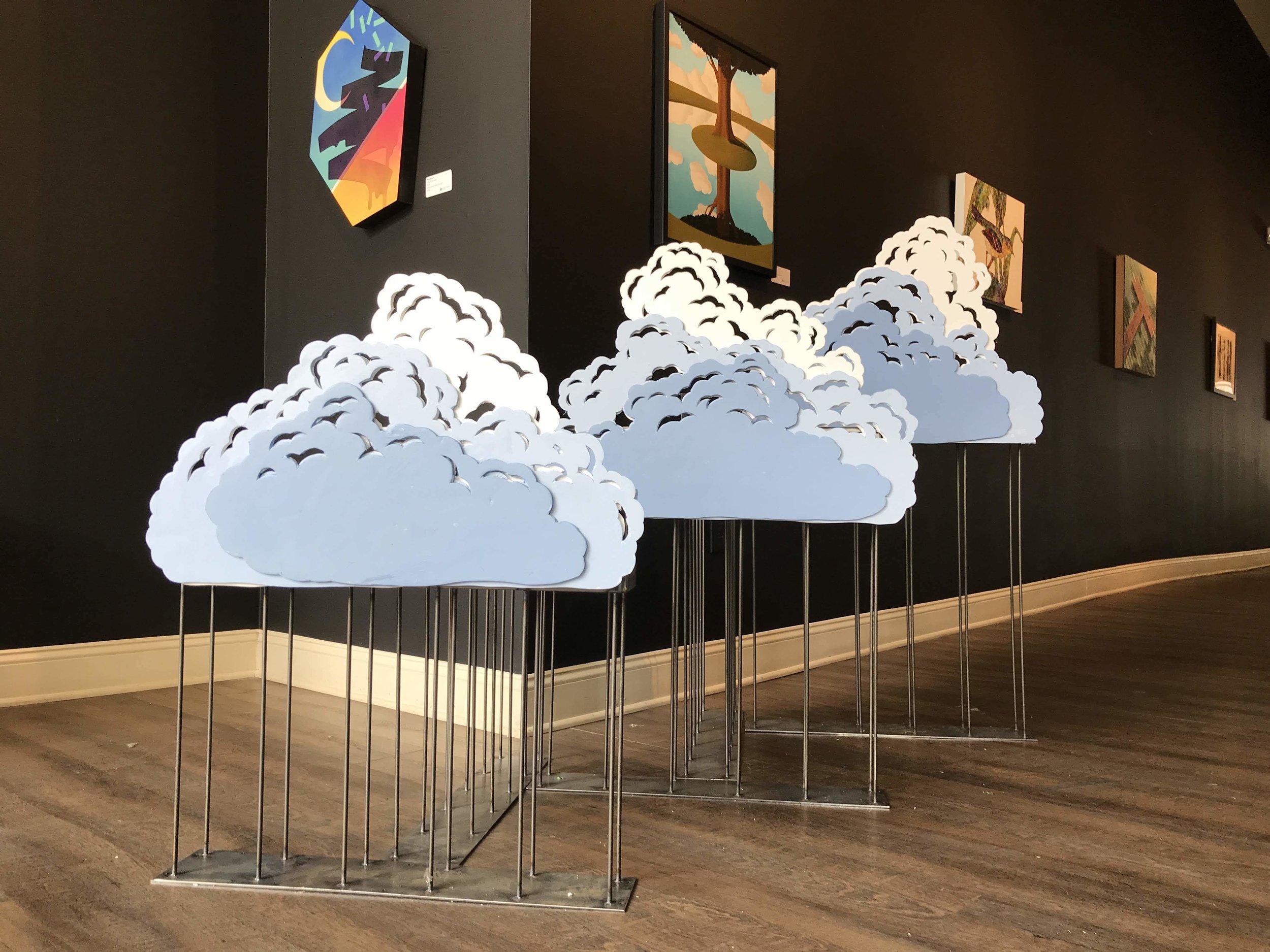 Miniature troughs, styrofoam clouds.