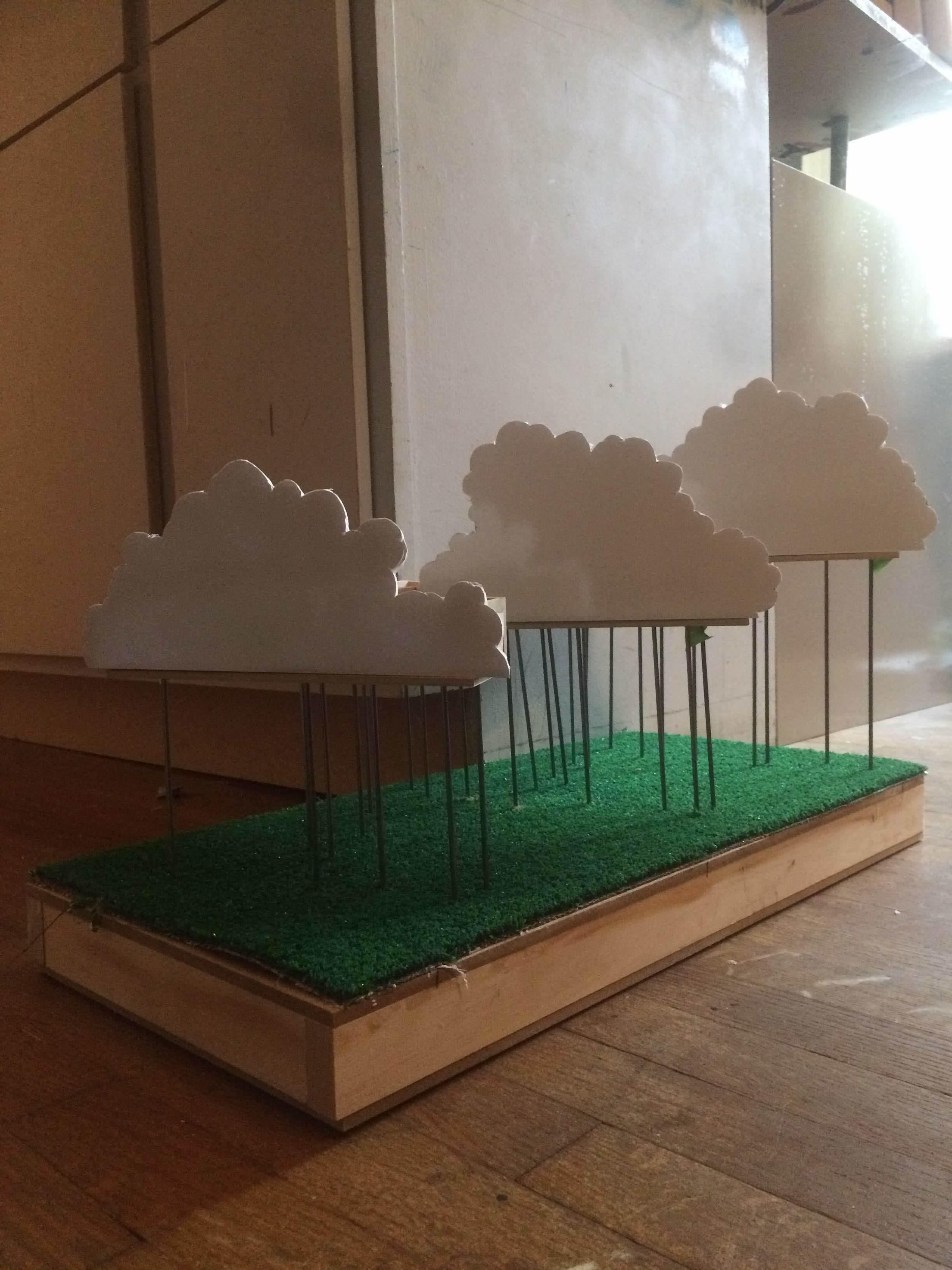 Initial miniature, wood, metal, foam board, plastic.