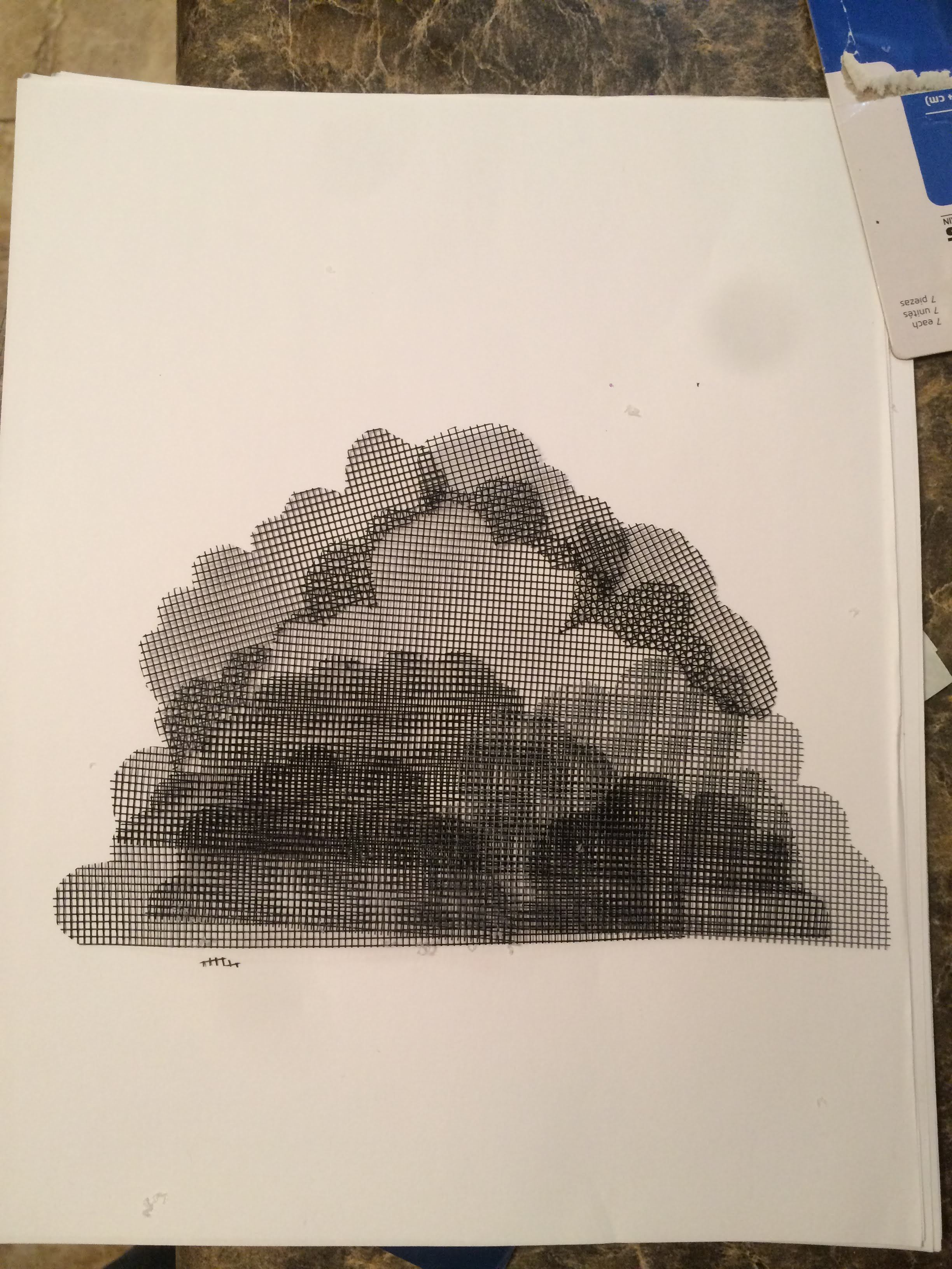 Miniature of cloud with perforated screen to test visual gradient.