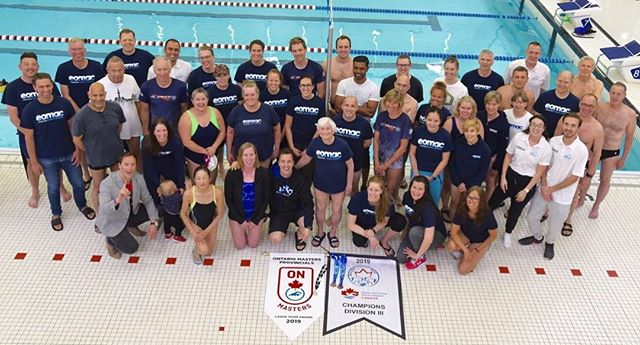 That's one strong looking team! EOMAC this year won the Ontario Provincial Championships and the Canadian National Championships! 💪 #mastersswimming #collectingbanners