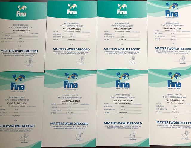 They're here!!! 8 confirmed FINA WORLD RECORD certificates set by our own ageless wonder, Kalis Rasmussen. 🧜♀️ 🏊🏻♀️ 💪#mastersswimming #worldrecord #fina #swimming