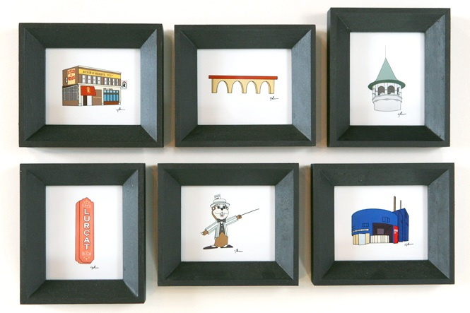 State Icons: Digital illustrations of U.S. landmarks that come in handmade frames