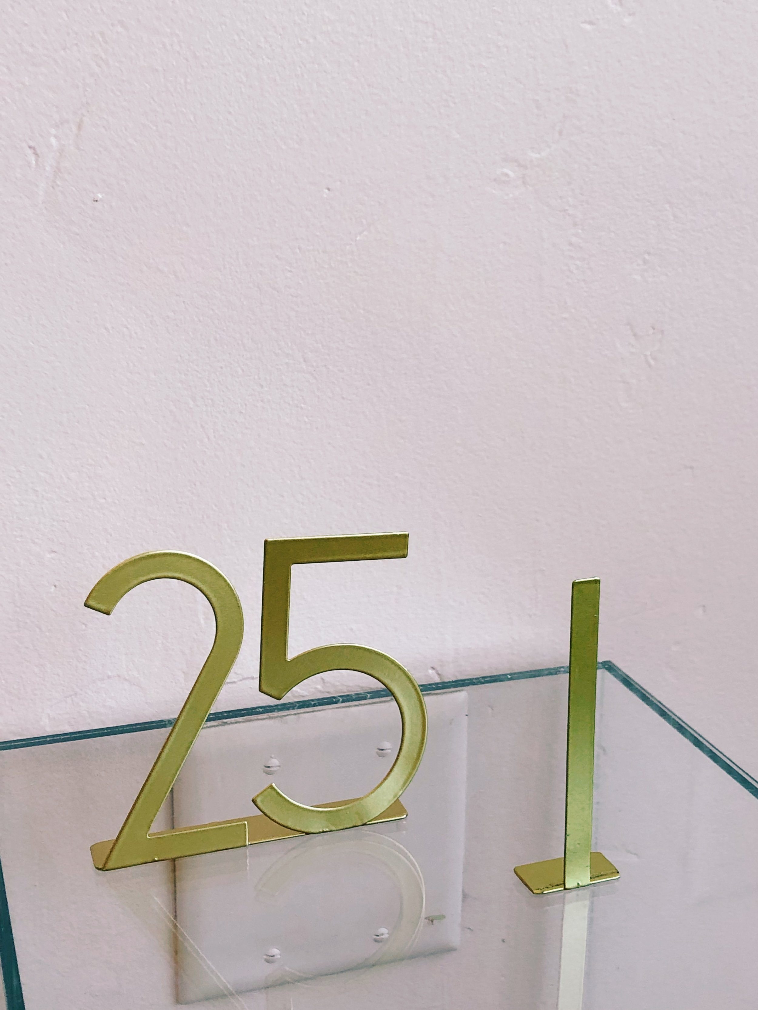 "Modern Table Numbers - Midcentury Modern meets Art Deco. One Set of table numbers 1-25 available. Roughly 4""."