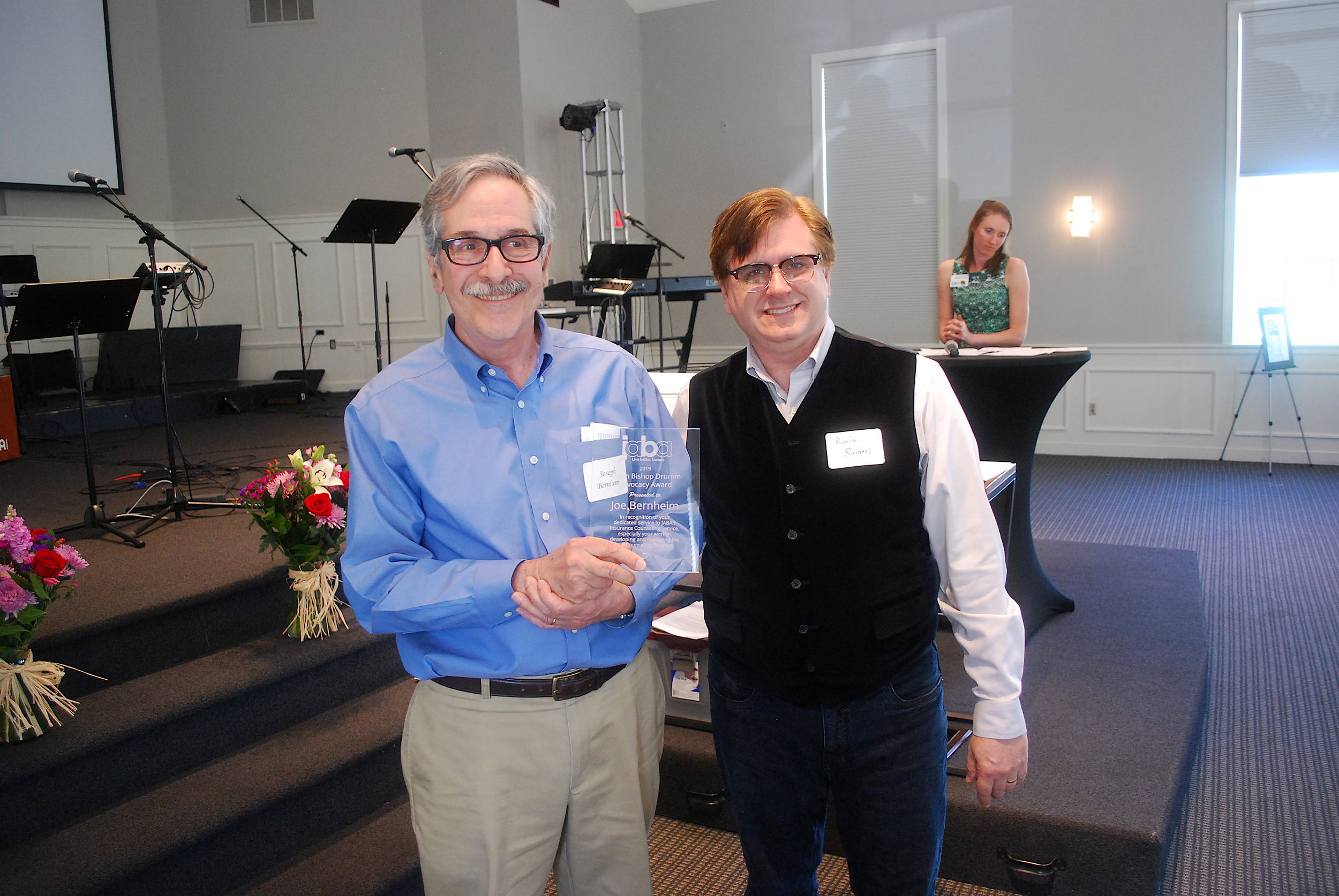 Insurance Counseling program volunteer Joe Bernheim, seen here with Insurance Couseling program director Randy Rodgers, received the 2nd Annual Susan Bishop Drumm Advocacy Award.