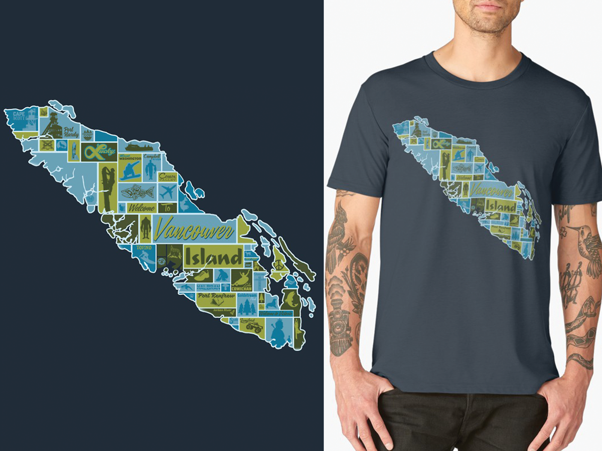 Garment Design: Vancouver Island Pictorial Map