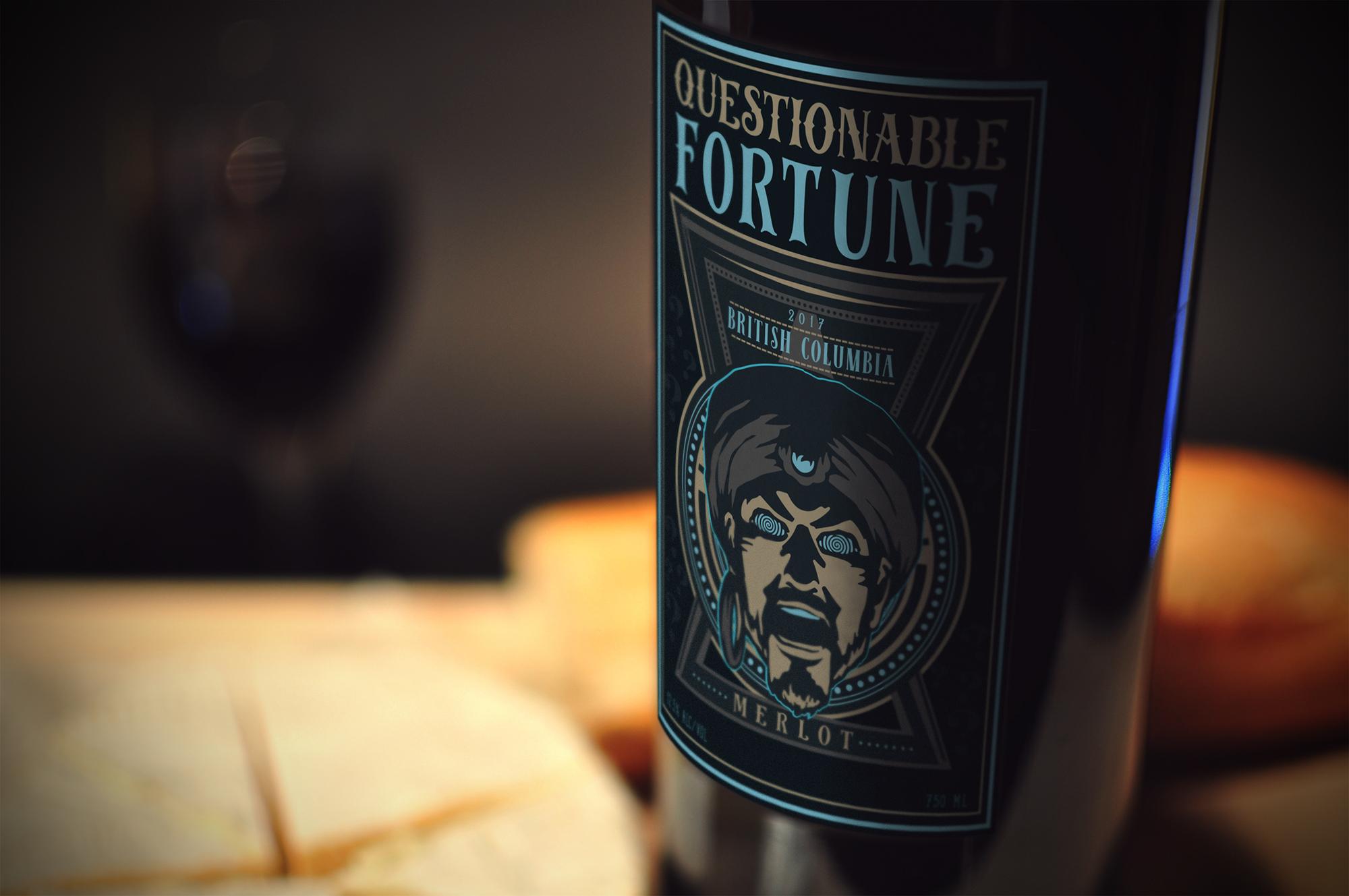 Label Design: Questionable Fortune Merlot