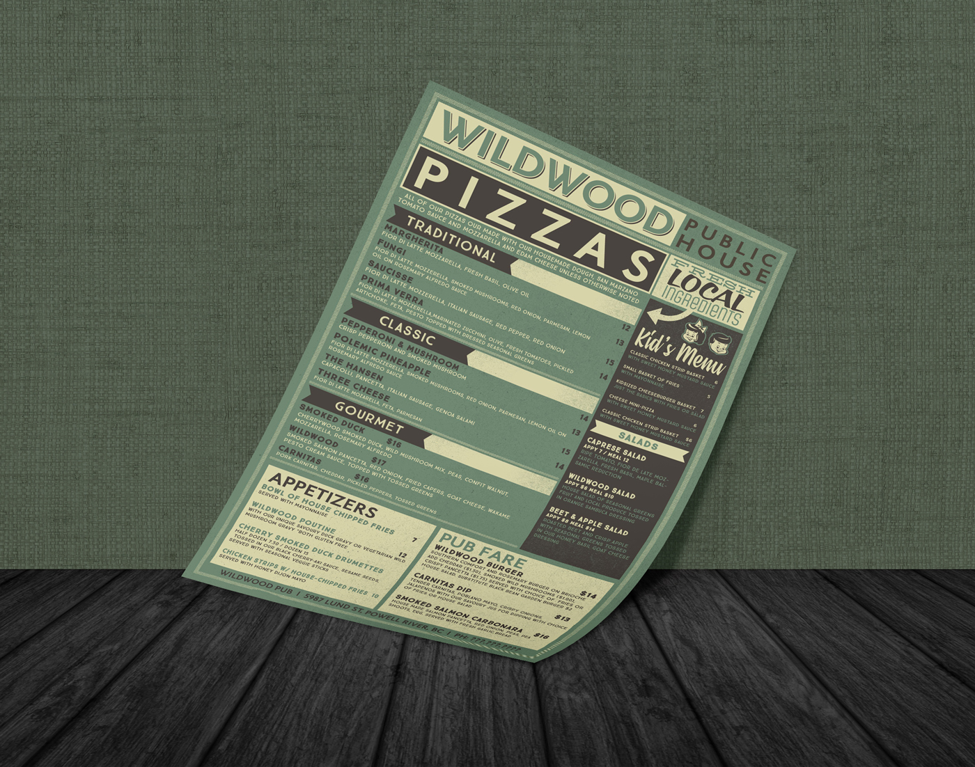 Menu Design: Wildwood Pub, Powell River