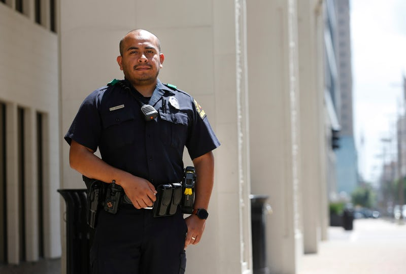 Dallas police Officer Jorge Barrientos poses for a portrait near El Centro College in downtown Dallas on July 5, 2019. Officer Barrientos was one of many officers who responded to the call as a gunman in downtown Dallas shot and killed five officers on July 7, 2016.  (Vernon Bryant/Staff Photographer)