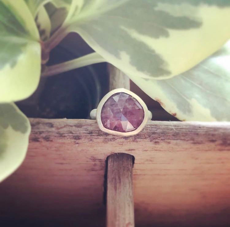 Plum Sapphire and Gold RIng