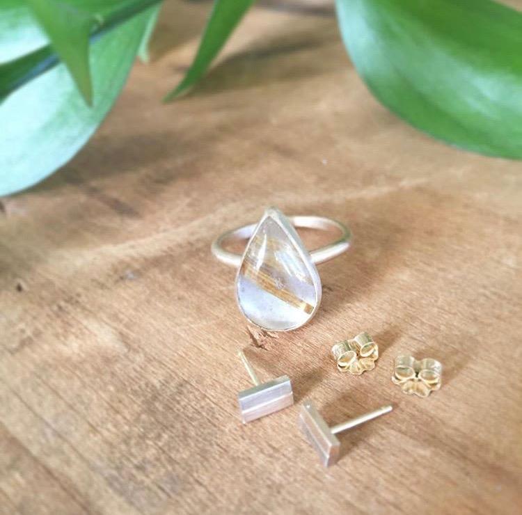 Rutiated Quartz & Gold Ring, White/Yellow Gold Earrings