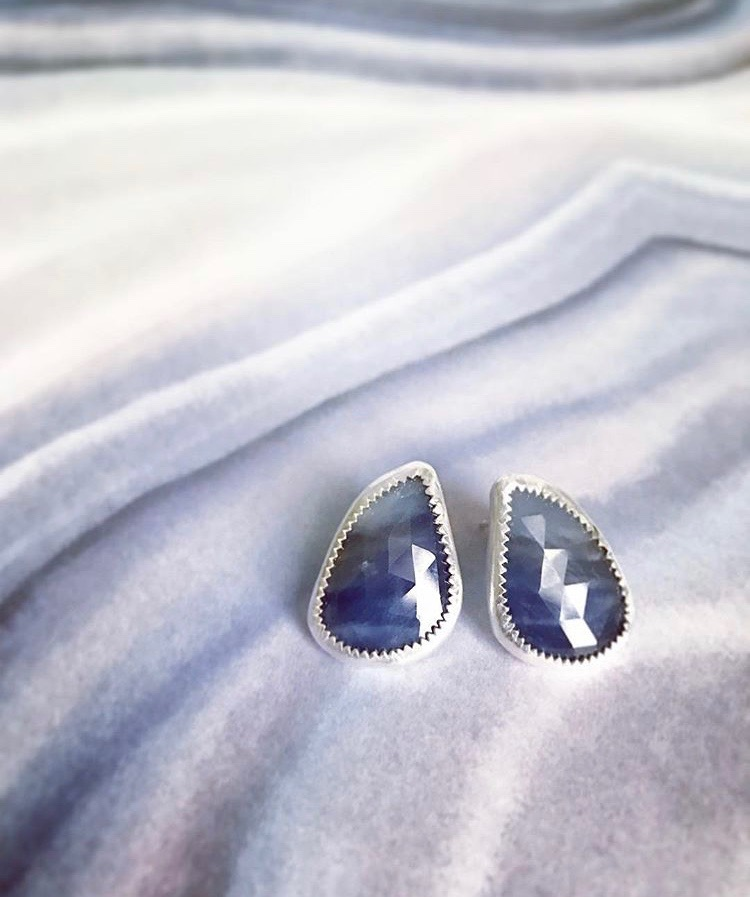 Rose-Cut Sapphire and Sterling Earrings