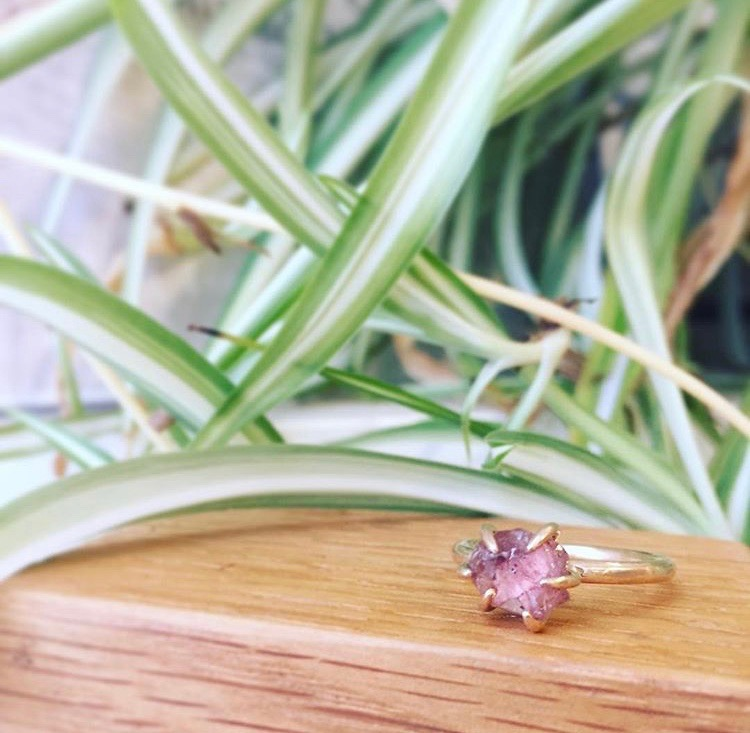 Champagne Garnet and Gold Ring With Claw Setting