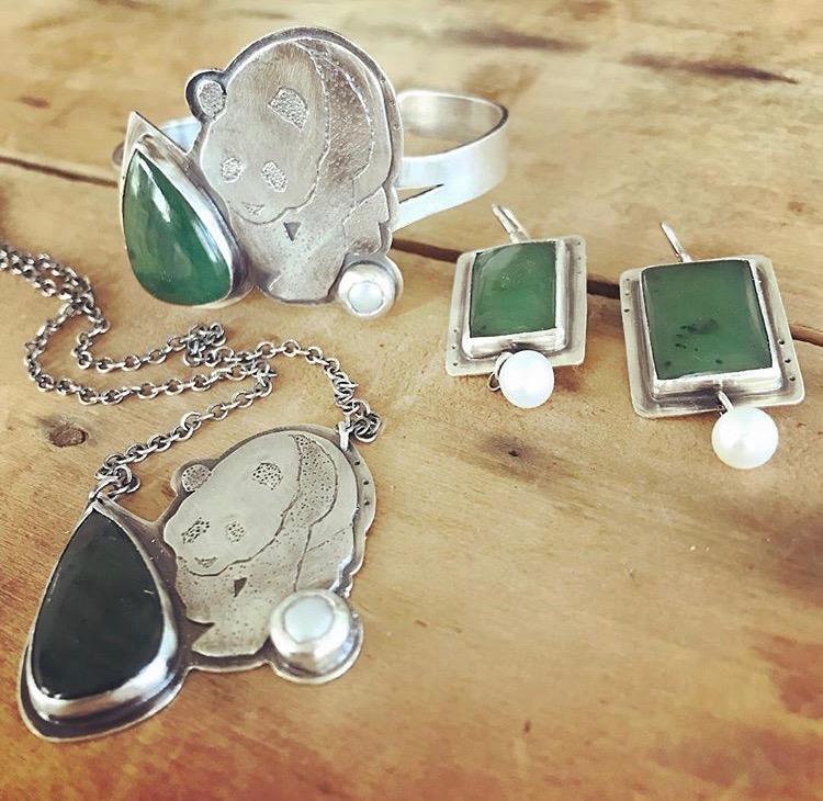 Custom Set, Sterling Panda, Jade, and Pearl