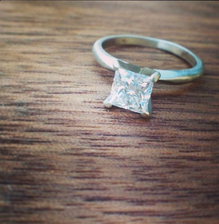 Princess Cut Diamond & White Gold Engagement Ring