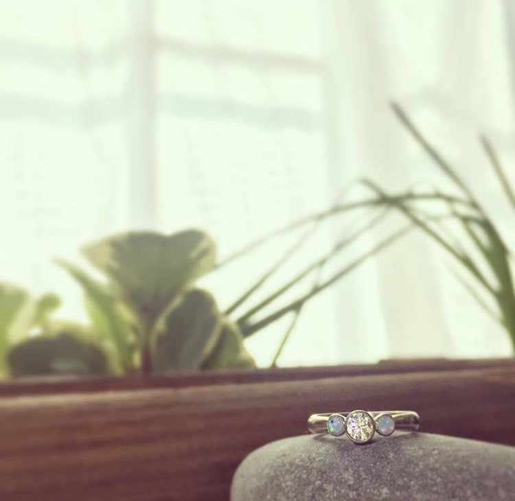 Diamond & Opal Engagement Ring